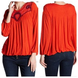 Free People Begonia Embroidered Top in Red